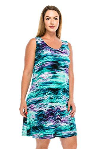 Jostar Women's Stretchy Missy Tank Dress Print X-Large Aqua ()