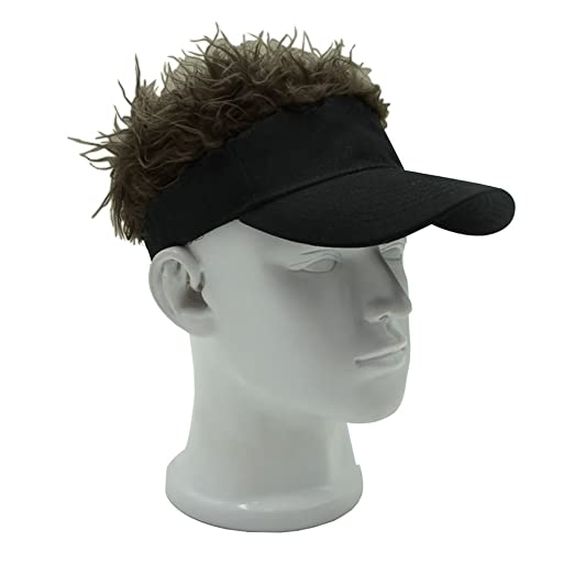 29aef334 Image Unavailable. Image not available for. Color: MerryJuly Adjustable Visor  Cap with Fake Hair ...