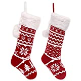 """faux fireplace ideas Teresa's Collections 21"""" Traditional Red and White Knitted Christmas Stocking Set of 2 with Snowflakes, Christmas Tree and Faux Fur Cuff Design, Themed with Christmas Tree Skirt (Not Included)."""