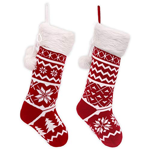 """Teresa's Collections 21"""" Traditional Red and White Knitted Christmas Stocking Set of 2 with Snowflakes, Christmas Tree and Faux Fur Cuff Design, Themed with Christmas Tree Skirt (Not Included)."""