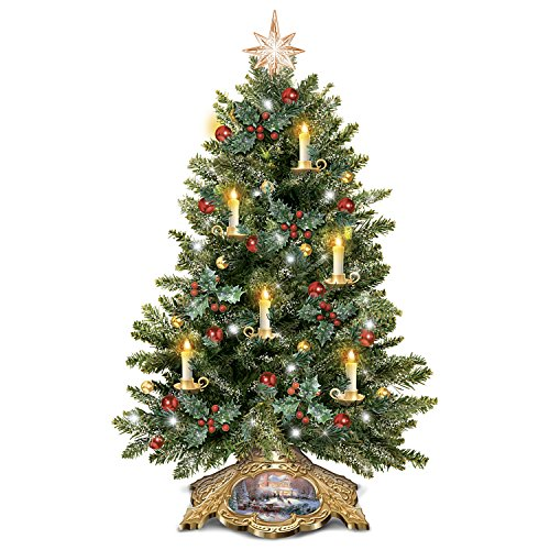 (Bradford Exchange The Thomas Kinkade Holiday Traditions Tabletop Tree With Flickering Flameless Candles)