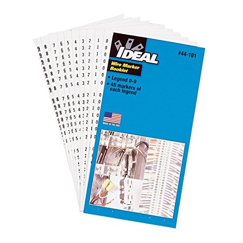 Ideal Industries 44-103 Plastic-Impregnated Cloth Self-Sticking Wire Marker Booklet 1/4 Inch x 1-1/2 Inch Legend 1-45
