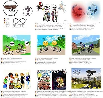 sellOttO Giro - Sillín cómodo Gel Hombre Mujer, Ninguna presión en Zona genital - Ideal para Bicicleta Eléctrica, Plegable, Piñón Fijo, MTB, Carrera: Amazon.es: Deportes y aire libre