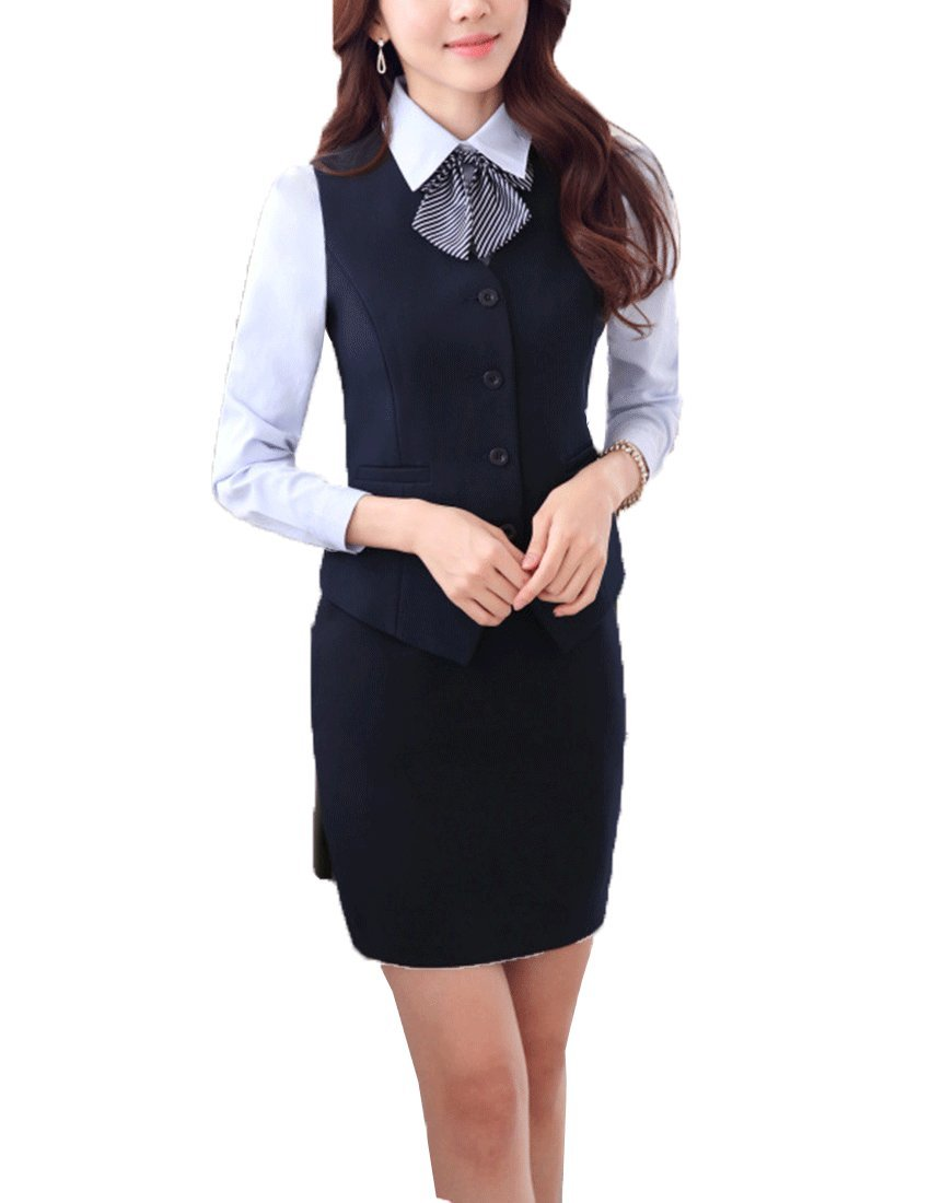 MFrannie Women's New Business OL Jacket Shirt And Skirt Three Pieces Suit Set Navyblue-S