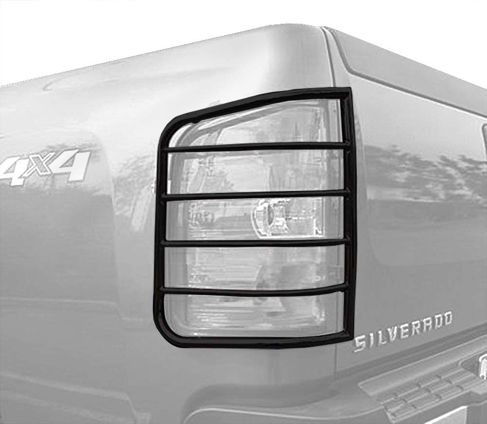 Excl 2014 Silverado 1500 Mounting Hardware /& Instruction Included 2pcs Black Taillight Covers Tail Light Guards MaxMate Custom Fit 2007-2014 Chevy Silverado
