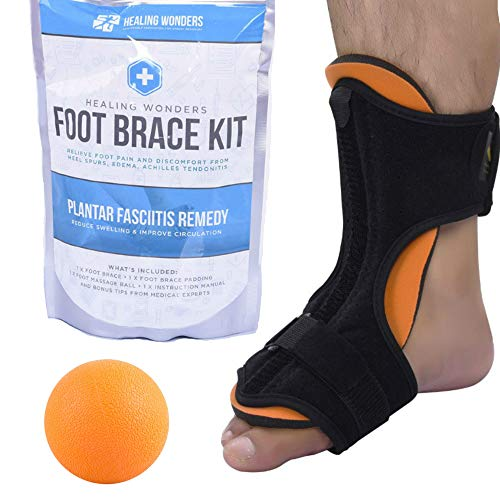 Plantar Fasciitis Night Splint Arch Support – Healing Wonders Foot Brace Kit [with Massage Ball] Pain Night Splints and Tendon Stretcher for Planter Fascitis, Achilles Tendonitis, Heel Spur Relief – DiZiSports Store