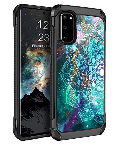"""BENTOBEN Samsung Galaxy S20 5G Case 6.2"""", Slim Shockproof 2 in 1 Hybrid Hard PC Soft Bumper Back Panel Glow in The Dark Dual Layer Protective Phone Cases Cover for Galaxy S20 2020 Release, Mandala"""