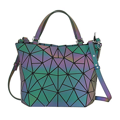 - Woman Geometric Luminous Tote Holographic Shoulder Bag Crossbody bag Clutch Bag Flash Reflective Leather Purses Handbags for Ladies Girls