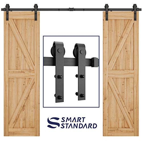8ft Heavy Duty Double Door Sliding Barn Door Hardware Kit -Smoothly and Quietly -Simple and Easy to Install -Includes Step-by-Step Installation Instruction - Fit 24 Wide Door Panel (J Shape)