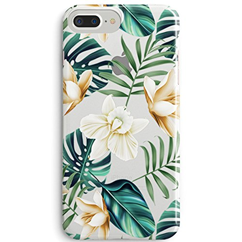 iPhone 8 Plus(7 Plus) Bahama Leaves Aloha Love Summer Tropical Coffee Floral Clear Rubber Case for iPhone 7 Plus-Colored Vintage Flower Floral Japanese Cherry Blossom Roses iPhone 8 Plus Case