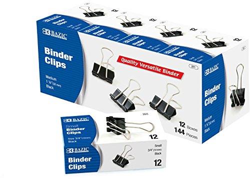 BAZIC Medium 1 1/4'' (32mm) Black Binder Clip (12/B 120 pcs SKU# 1931428MA