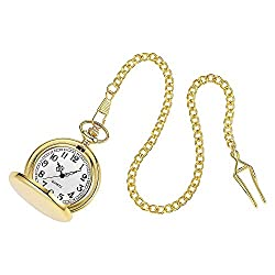 Navion Mens Gold Smooth Stainless Steel Case White Arabic Numbers Modern Pocket Watch 14 Chain