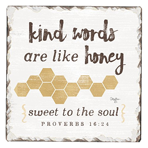 (CounterArt Single Tumbled Tile Absorbent Coaster, Kind Words Are Like Honey-Sweet to the Soul )