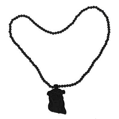 Toogoor Wooden Jesus Piece Rosary Necklace Christ Pendant Chain Black