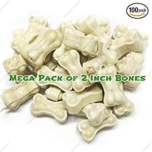 Petlicious & More Rawhide Pressed Bones for Puppy and Small Dogs, 2 Inch (Pack of 100)