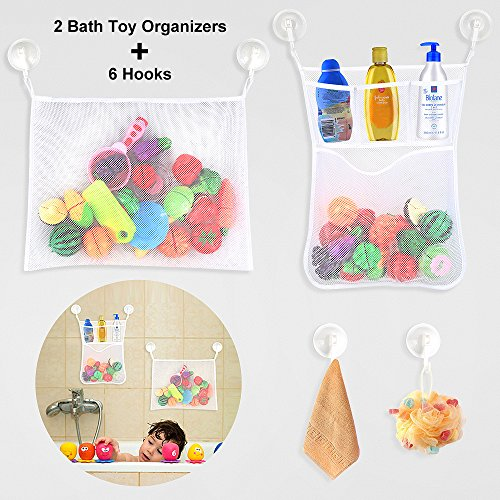 - ELECOOL Bath Toy Organizer 2 Packs + Suction Cup Hooks 6 Packs, Bathtub Toys Organizer Mesh Storage Bags with Hooks to Hang Baby Kids Toys & Bathroom / Shower Room Stuff