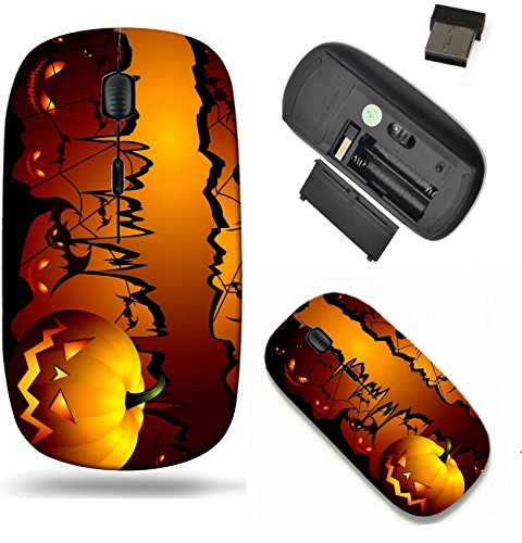 Liili Wireless Mouse Travel 2.4G Wireless Mice with USB Receiver, Click with 1000 DPI for notebook, pc, laptop, computer, mac book Halloween background with pumpkin and spider IMAGE ID -