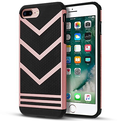 iPhone 8 Plus Case, LOEV Non-slip Slim Fit [Stylish Design] [Double Protection] Anti-scratch Soft Rubber Bumper Protective Cover for Apple iPhone 7/8 Plus 5.5