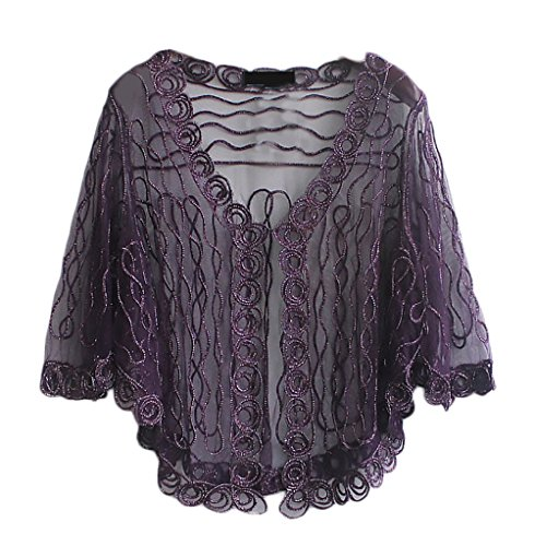 Ragazze Donna Manica Pizzo Top Festa Filato Elegante Corta Estive Party Bolero Per Style Purple Cocktail Di Cardigan Moda Netto Bolerino Un0dzxz