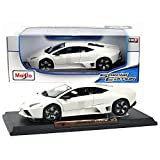 """Maisto Year 2015 Special Edition Series 1:18 Scale Die Cast Car Set - White Color Mid-Engine Sports Car LAMBORGHINI REVENTON with Display Base (Car Dimension: 9"""" x 4"""" x 2-1/2"""")"""