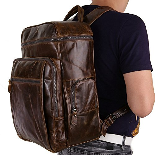 Color : Brass, Size : L Shengjuanfeng Mens Backpacks Leather Backpack Mens Luggage Bags Leather Backpacks