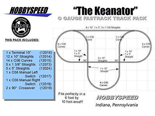 LIONEL FASTRACK KEANATOR TRACK LAYOUT 6' X 10' O GAUGE switch layout pack