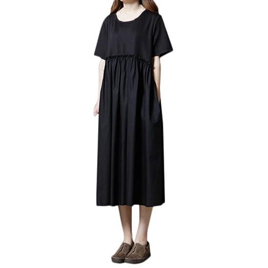 Corriee - Vestido Largo Suelto de algodón y Lino, de Manga Corta ...
