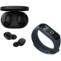 Kit Smartwatch Mi Band 4 Preto lacrado + Fone de Ouvido Xiaomi Redmi Airdots Com Bluetooth