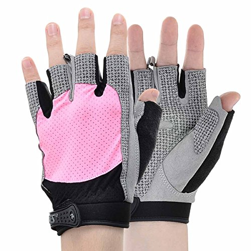 KAMO Ultralight Anti-slip Breathable Gloves for Gymnastics,Kayaking,Paddling,Sailing,Weight Lifting,Training,Fitness,Bodybuilding and Outdoor Anti-slip Cycling Gloves Men & Women(Pink,L) by KAMO