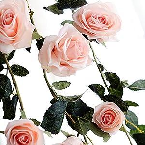 Zehui Decorative Fake Rose Flower for Home Wall Garden Wedding Party Decor 6 Feet Hand-made Artificial Silk Rose Vines Pink