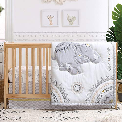 Boho Grey Elephant 3 Piece Baby Crib Bedding Set by The Peanutshell