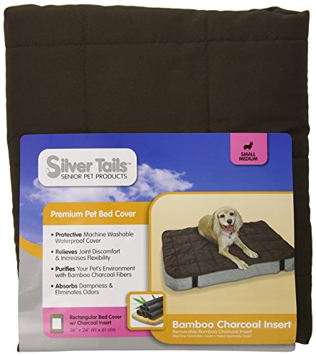 Silver Tails Bamboo Charcoal Rectangular Dog Bed Cover, Small/Medium (Bamboo Charcoal Tails Silver)