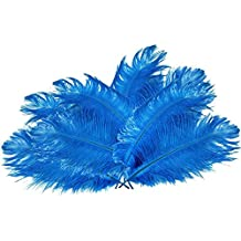 Happy Will 50 Pcs 15-20cm Real Natural Ostrich Feathers Great Decorations for Wedding Party (Deep Blue)