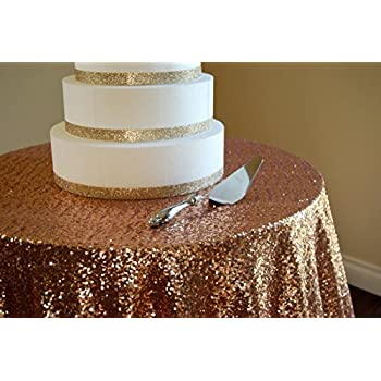 Amazon.com: 72'' round rose gold Sequin Tablecloth To the ...