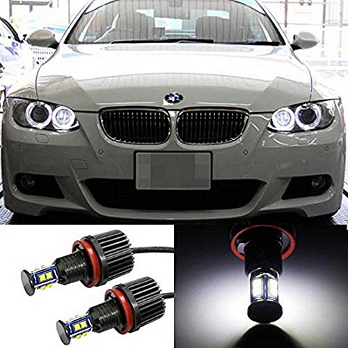 iJDMTOY 360° H8 LED Angel Eye Ring Marker Bulbs For BMW 1 3 5 Series Z4 X5 X6, Powered by 80W XB-R5 High Power CREE LED Lights