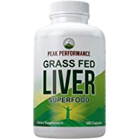 Grass Fed Desiccated Beef Liver Supplement by Peak Performance. 180 Capsules of Grassfed Liver Superfood Pills Rich in…