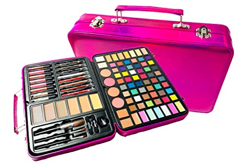 BR Carry All Trunk Professional Makeup Kit – Eyeshadow, Eyeliner, Lip Stick All In One Clear Case RedCase
