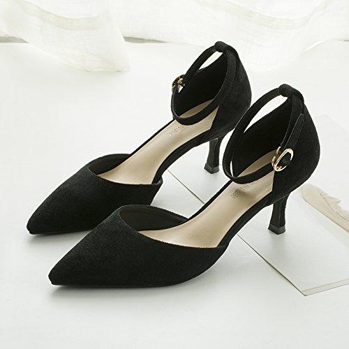 alto Negro punta Qiqi hueca finas con ranurada zapatos chica sandalias de talón Baotou fina con zapatos Xue solo satén correa pYqZHq