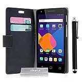 zStarLn® schwarz Hülle Leder Tasche für Alcatel One Touch Pixi 3 (4,5 Zoll) Hülle Handytasche Zubehör Schutzhülle Etui + Stylus pen