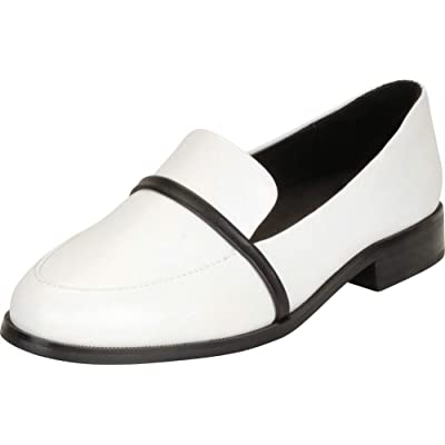 Amazon.com | Cambridge Select Women's Slip-On Genuine Leather Stacked Block Low Heel Loafer | Loafers & Slip-Ons