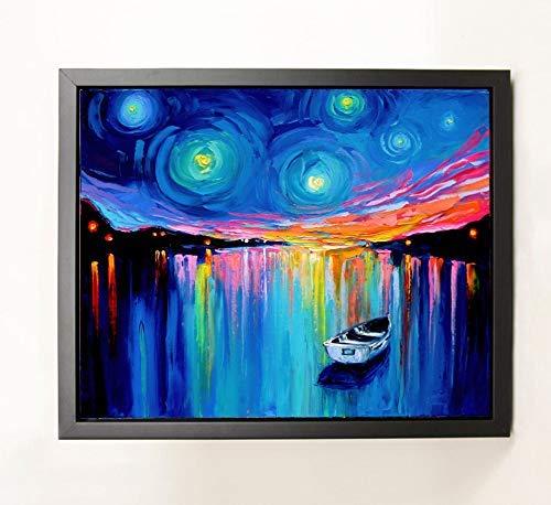 Ready to hang Boat on Lake Art 8x10 Black Framed CANVAS print Midnight Harbor XXVIII by Aja