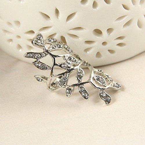 New Fashion Chic Design Fashion Crystal Long Branch Leaves Aolly Ring Nice silver (Nice Design Silver)