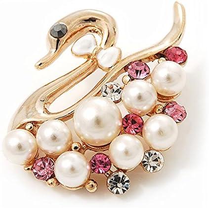 Impresionante Cristal Pequeño Perlas De Imitación Floral Broche En Metal Tono Oro Rosa 35 mm