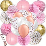 KTDUO - Pink and Gold Party Decoration Kit | Paper Pom Poms - Paper Lanterns - Honeycomb Balls - Rose Gold Confetti Balloons - Latex Balloons - Ribbon | Perfect For Girl Birthday Party - Bachelorette Party - Wedding - Baby Shower - Bridal Shower - Tea Party and More