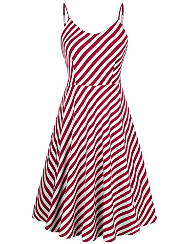 KASCLINO Women's A-Line Dress Sleeveless Strappy Pleat Skater Dress (XX-Large, Red and White)