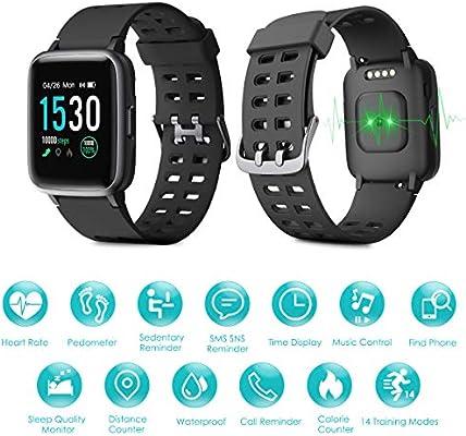 LATEC Pulsera Actividad Reloj Inteligente Impermeable IP68 Smartwatch Pantalla Táctil Completa con Pulsómetro Cronómetro Pulsera Deporte para Hombres Mujeres Niños con iOS y Android: Amazon.es: Deportes y aire libre
