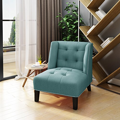 (Christopher Knight Home 303949 Teresa Tufted Wingback Blue Fabric Accent Chair,)