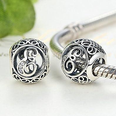 Letter Alphabet Charm 925 Sterling Silver Charms Fits European Bracelets Compatible