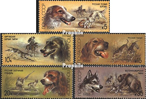 - Soviet Union 5827-5831 (Complete.Issue.) 1988 Hounds (Stamps for Collectors) Dogs
