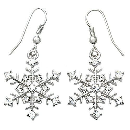 Winter Snowflake Dangle Drop Earrings Wedding Bridesmaid Christmas Gift for Women (Earrings Snowflake Winter)
